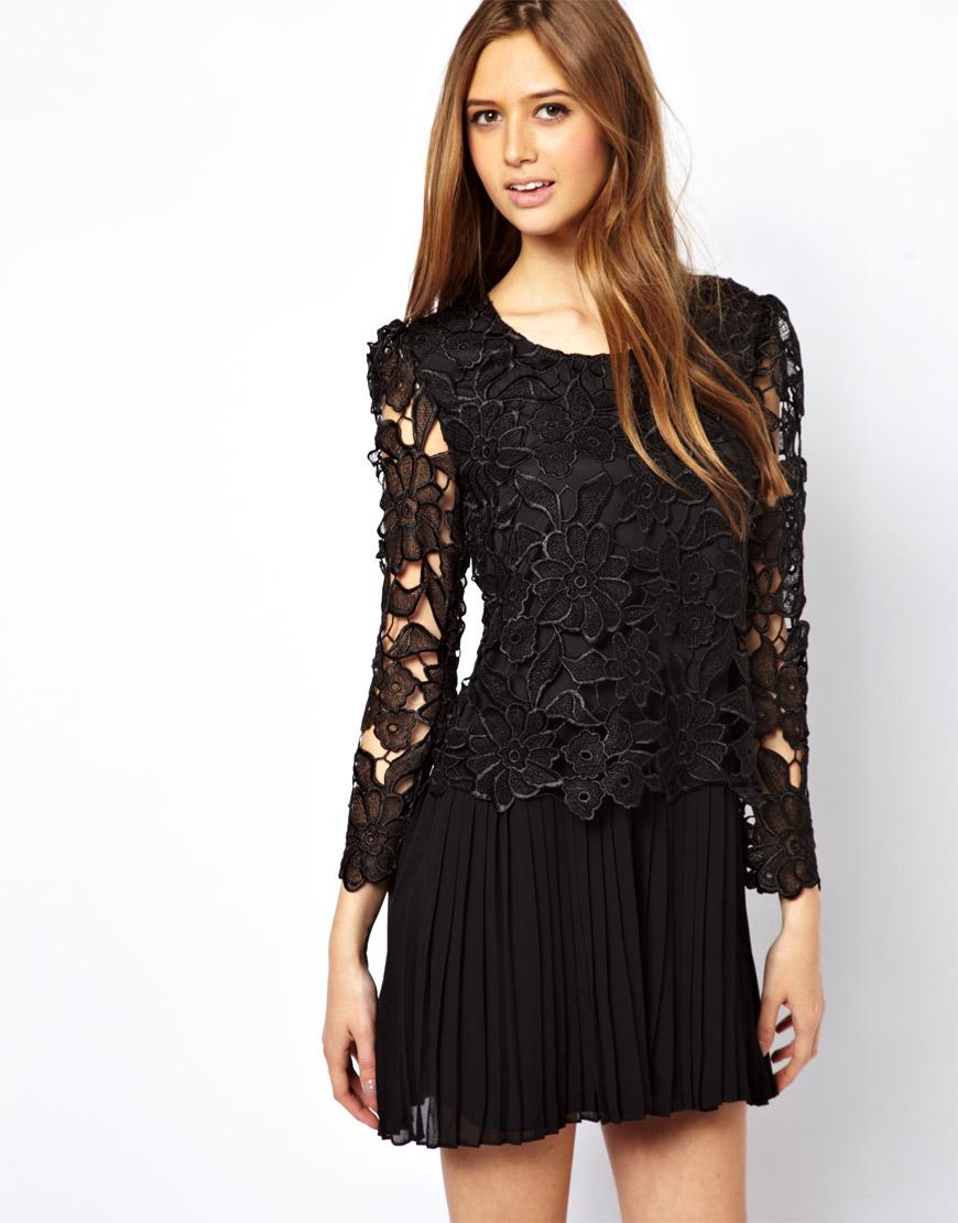 robe dentelle plissee noire asos appelez moi c lestine. Black Bedroom Furniture Sets. Home Design Ideas